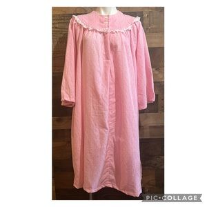 Vintage Pink Lacy Flannel Floral Long Sleeve Cozy Cottagecore Nightgown One Size